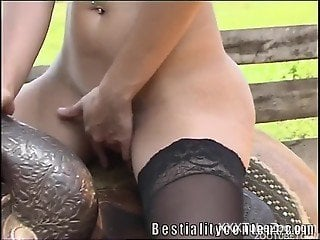 Smashing closeup horse porn for a tight babe addicted to animal porn