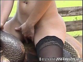 Smashing closeup horse porn for a tight babe addicted to animal porn
