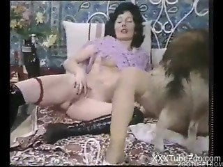 Classic porn scenes with milfs and dogs enjoying real zoophilia sex
