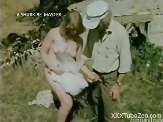 Young animal lovers have zoophile sex in vintage movie