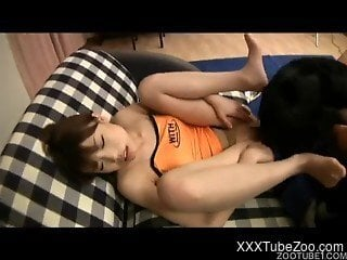 Asian beauty likes filthy bestiality sex with dogs