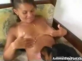 Black doggy and busty whore zoophile are fucking in hardcore mode