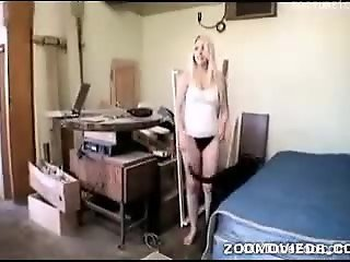 Bestial sex in the bedroom with extremely hot amateur blonde and a dog