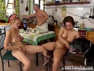 Trio of dirty zoophiles and black pet relax in kitchen