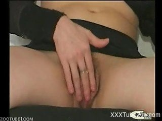 Brown-haired MILF destroyed by her own big-dicked dog right here