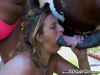 Busty amateur blonde sucking on a stallion's dick