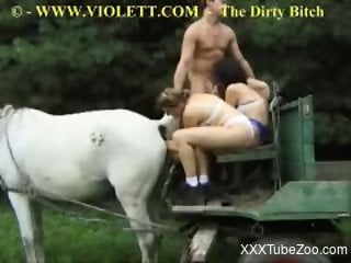 White mare gets fisted in a bestiality orgy scene
