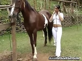Latina veterinarian is about to get fucked by a horse