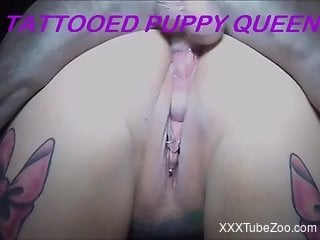 Inked-up puppy slut getting fucked by a kinky dog