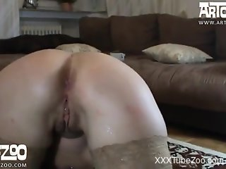 Slim female ass fucked by the dog in excellent scenes