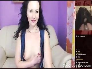 Surprised slut masturbates to real bestiality porn